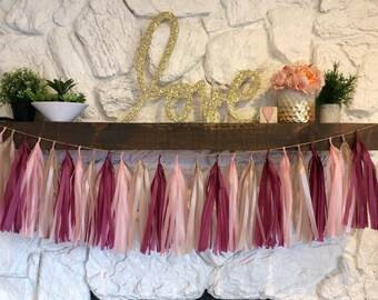 Blush and Wine Tissue Paper Tassel Garland