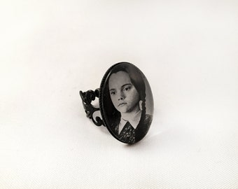 The Addams Family Photo Ring - Christina Ricci as Wednesday Addams - Adjustable Gothic Ring, Cameo Ring, Black Statement Ring, Gothic Gift