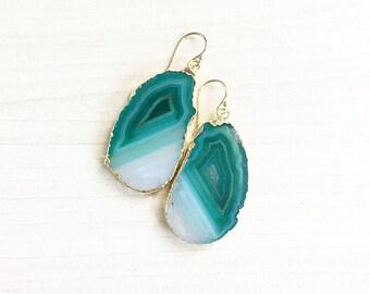 Green & White Agate Slice Earrings // Agate Earrings // Natural Earrings // Gold Earrings // Bridal Earrings // Boho Earrings