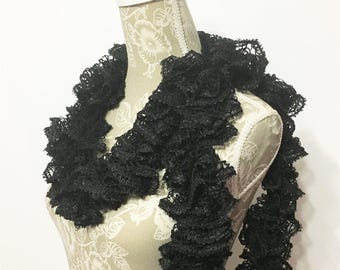 Black Ruffle Scarf, Crochet Ruffle Scarf, Crochet Scarf, Ruffled Scarf, Handmade Scarf, Sashay Scarf, Scarf, Ready to ship, Gift for Her