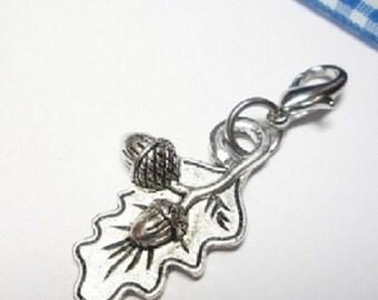 Costume pendants, Charivari trailer acorns with oak leaf, antique silver