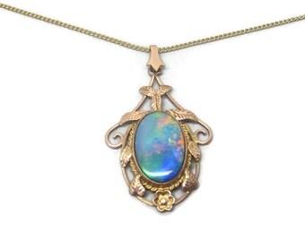 Antique Arts & Crafts period 9 Carat Rose Gold, Black doublet Opal pendant necklace