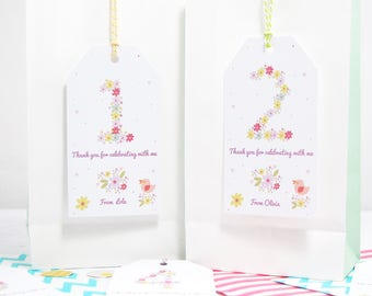 Personalised Floral Kids Birthday Party Thank You Tags, Party Bags, Girls Birthday Party, Thank You Gift Tags With Twine