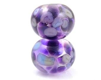 Phloxian Earring Pair SRA Lampwork Handmade Artisan Glass Donut/Round Beads Made to Order Pair of 2 8x12mm