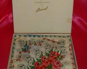 Vintage BURMEL Brilliant Colored Rose Bouquet Boxed Handkerchiefs / Hankies