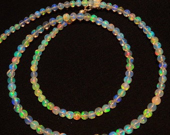 "Natural Ethiopian Welo Opal Rare Round Ball Shape Beads 3 to 3.5MM Necklace 16"" Full Strand Ultimate Quality Super Rainbow Electric Fire"