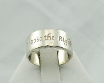 """Unique Heavy Vintage Sterling Silver """"Choose The Right"""" CTR Ring/Band #CHOOSE-L"""