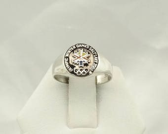 Collectable Vintage 2002 Winter Olympics Solid Sterling Silver Ring Size 6 3/4 #OLYMPIC-SR3