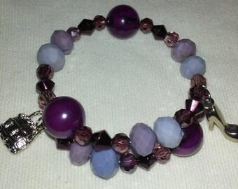 Purple Bracelets with Charms