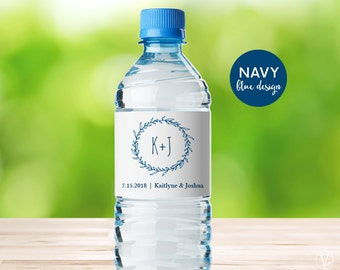 Water Bottle Labels, Printable Water Bottle Label Template, Personalized and Editable, Classic Wreath, Navy Blue, VW07