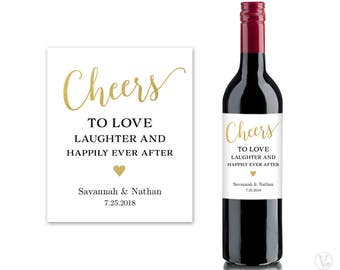 Wine Bottle Labels, Printable Wine Bottle Label Template, Personalized and Editable, Cheers, VW10