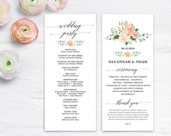 Peach Blush Wedding Program Template, Printable Wedding Programs, Boho Wedding Program, Tall Program, Editable Text, Tea Length, Peach Blush