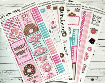 DONUTS KIT! Planner stickers, donuts, coffee, love, sexy time, xoxo. Perfect for Inkwell Press, Erin Condren, Happy Planner! {#K1602}