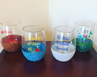 Disney Inspired Wine Glasses Set of Four