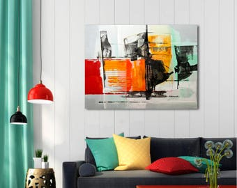 Painting yellow white green grey orange black, Abstract Painting, Modern Painting, Original Painting