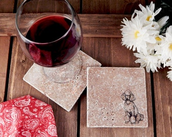 Set of 4 Standard Poodle Travertine Stone Coasters