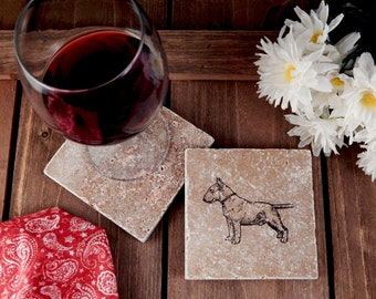 Set of 4 Bull Terrier Travertine Stone Coasters
