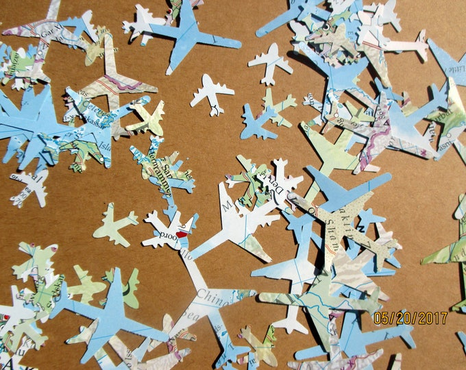 1000-Large & small- Airplane Confetti-Travel Theme Wedding decorations-large plane confetti-Travel Theme shower decor-Baby shower boy-World