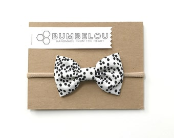 Classic Fabric Bow - Black and White Dotty - Headband or Clip