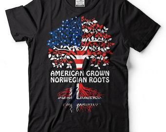 American Grown Norwegian Roots T-Shirt Norway Patriotic Tee Shirt
