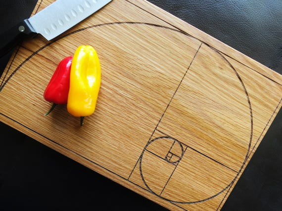 Fibonacci Spiral Cutting Board. Laser Engraved Fibonacci Spiral in Cherry, Walnut, Maple or White Oak Wood.
