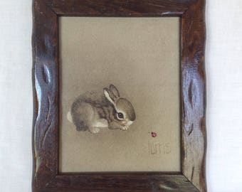 Peggy Harris Painting of a Rabbit and Ladybug