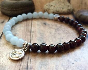 Yin and Yang Bracelet, Garnet Aquamarine Bracelet, Yoga Bracelet, Fire and Water Energy Balance, Wrist Mala, Feng Shui Bracelet.
