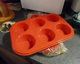 Red Silicone Non Stick No Rust 6 Cups each Muffin Pan Freezer, Microwave and Dishwasher Safe, Flexible Easy Storage Pan   ON SALE !