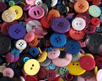 Assorted Buttons - Craft Buttons - Sewing Buttons - Plastic Buttons - Buttons For Clothing - Buttons For Crafts - 50g (approx.60pcs) - CUK1