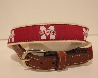 Mississippi State University Men's  Web Leather Belt
