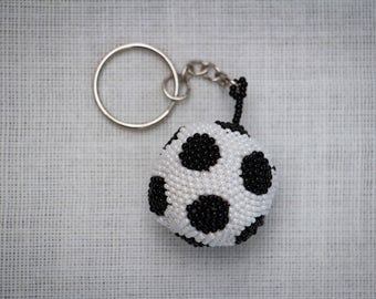 Soccer Ball Keychain, Soccer Keychain Beaded