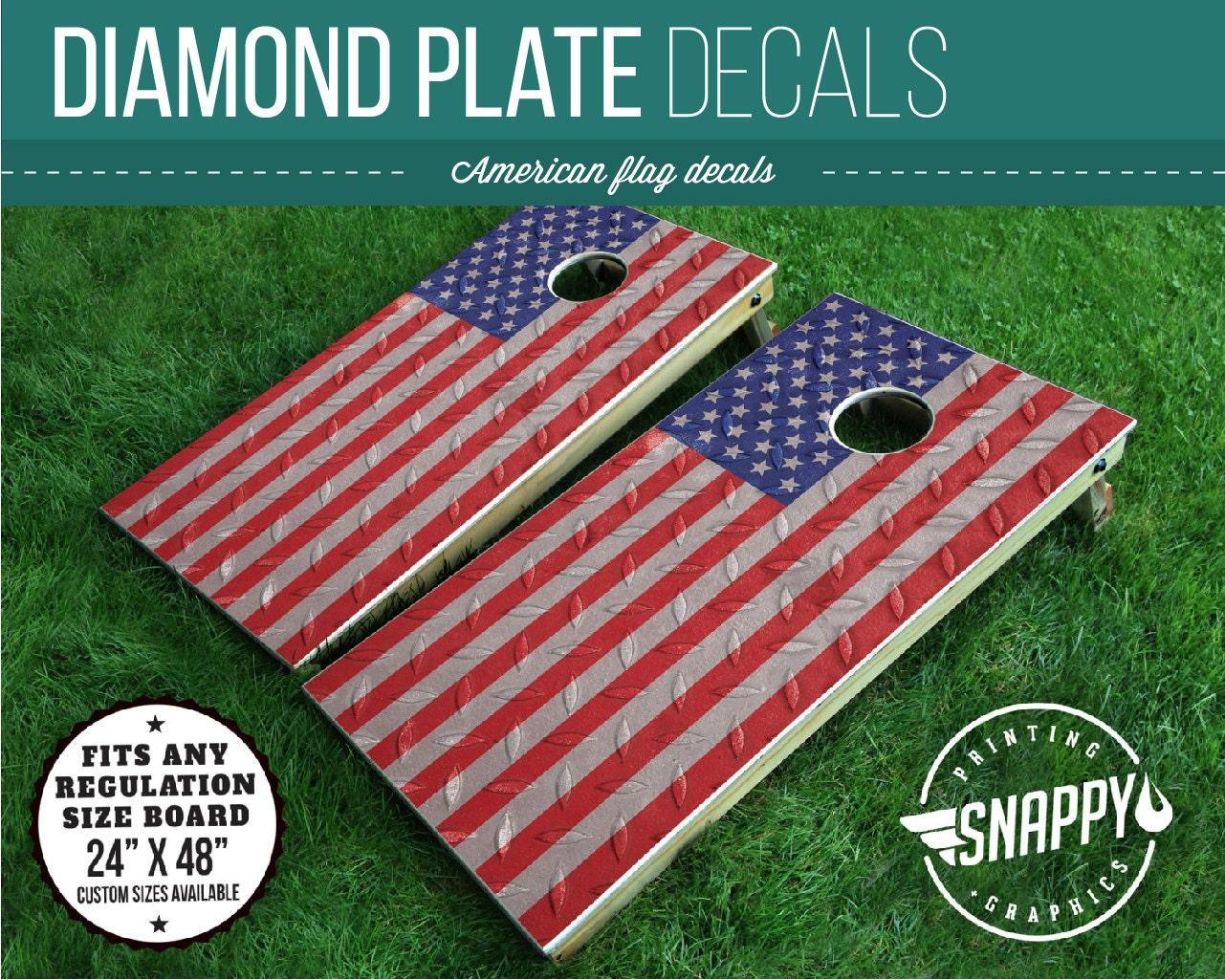 American Flag Diamond Plate Look Cornhole Decal Bags Vinyl