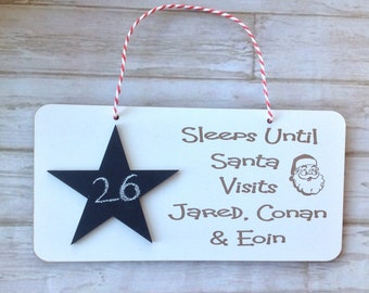 Christmas countdown plaque - sleeps until personalised plaque santa with chalk or chalk pen