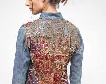 Boho Embellished Jeans Chain Jacket/  Jeans Mandarin Collar Jacket/ Vintage patch embroidery Jacket/ SMALL