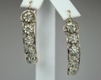 "Antique Victorian Earrings 14K Rose Gold 0.2ctw Rose Cut Diamonds Silver Settings Pierced Drop 1.5"" Length"