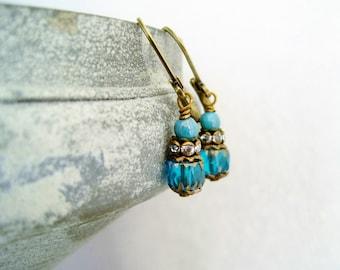 Earrings teal vintage rhinestone dangles teal earrings czech beads teal Ohrringe petrol vintage