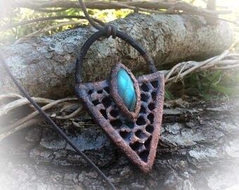 Real Wasp Nest And Labradorite Copper Electroformed Pendant