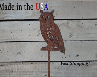 Great Horned Owl ,Rusty Yard Art, Garden Animals, Greenhouse Decor, Yard Stake Sign, Metal Art, RA1006