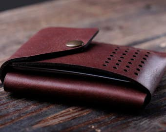 EDC slim wallet. Italian leather. Front pocket credit or business card holder minimalist style. Genuine leather.