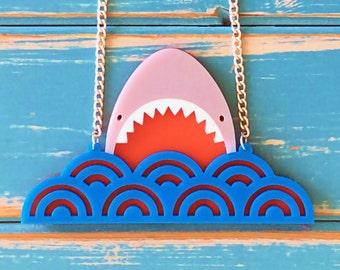JAWS Inspired Acrylic Shark Necklace
