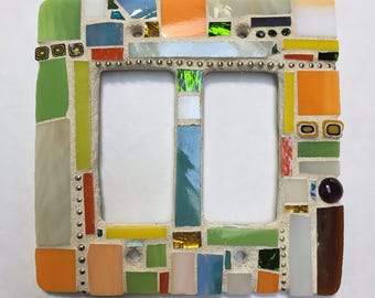 Stained-glass mosaic abstract double-rocker wall plate