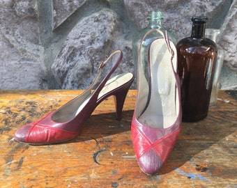 Vintage 70s Garolini Purple and Red Leather Slingback High Heels / Pin Up Style Pumps / Made in Italy / Women's Size 7