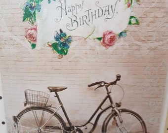 Vintage photo Happy Birthday Bicycle card, Soft glitter flowers pretty card Birthday card, Boho Birthday card