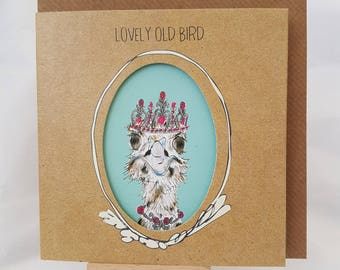 Lovely Old Bird Greeting card with cut out Ostrich card, Fun playful  card for a friend or colleague with drawing of a bird