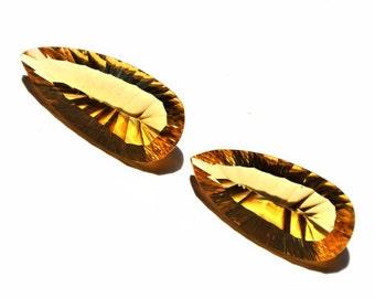 1 Pair Citrine Quartz Concave Cut Pear Briolettes Size 26x13mm Approx