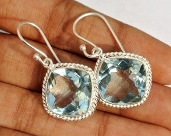 Bezel Set Aqua Quartz Cushion Earrings, Bezel Set Gemstone Earrings / Handmade Earrings