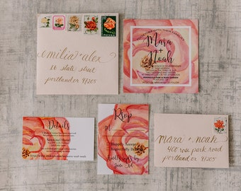 Red-Orange Watercolor Floral Wedding Invitation Suite | Square Wedding Invites | Printable Design or Professionally Printed