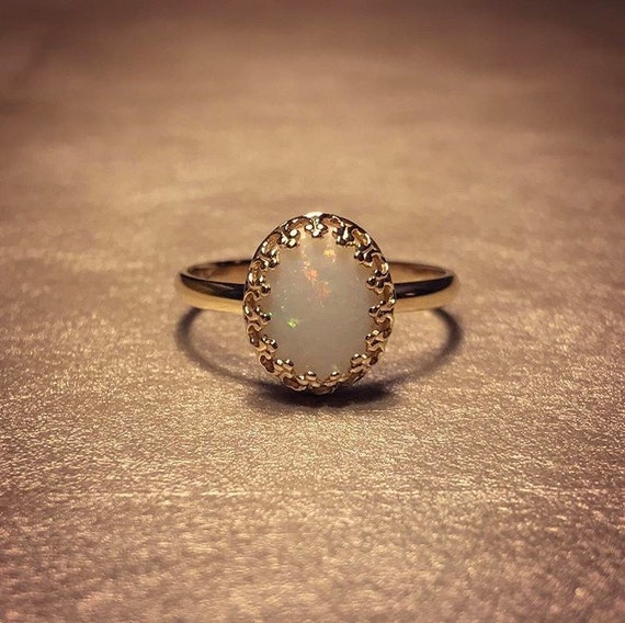 14K Solid Yellow Gold Ring with Australian Opal