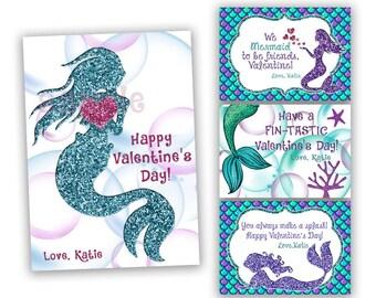 Mermaid Valentines Cards - Girl Classroom Valentines - Blue Glitter Mermaids Valentines Day Cards - Girl Valentines - Under The Sea - Ocean