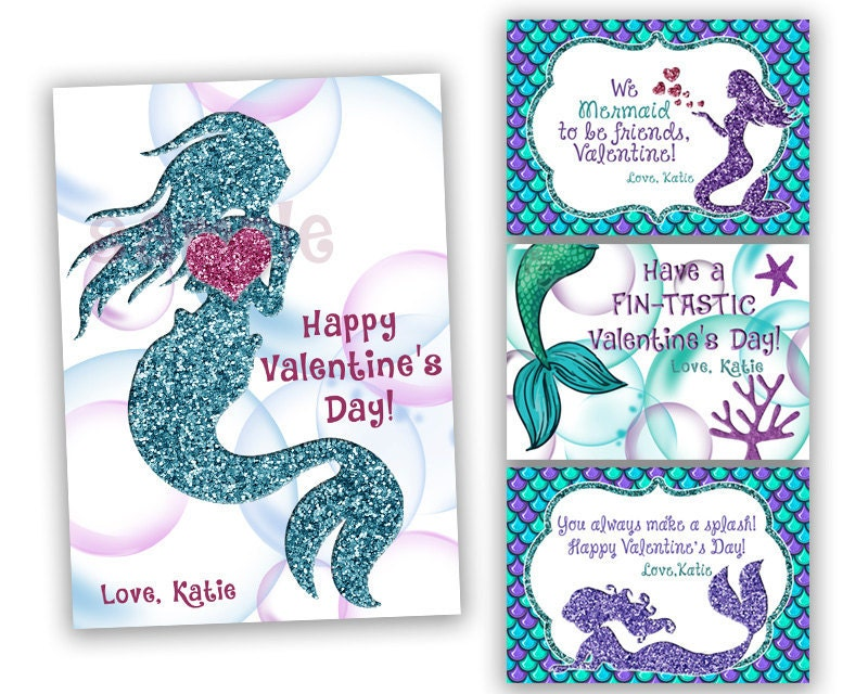 Mermaid Valentines Cards Girl Classroom Valentines Blue – Valentines Cards for Girls